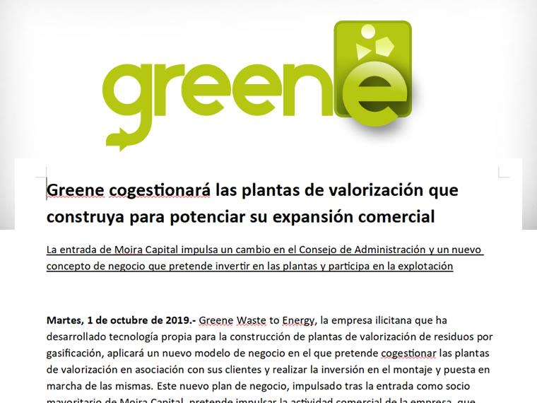 Greene cogestionará las plantas de valorización que construya para potenciar su expansión comercial