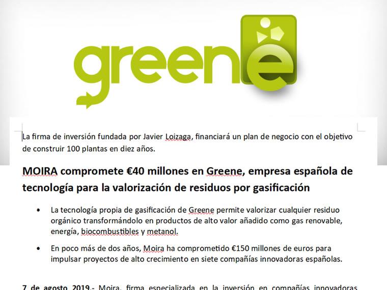 MOIRA compromete €40 millones en Greene, empresa española de tecnología para la valorización de residuos por gasificación