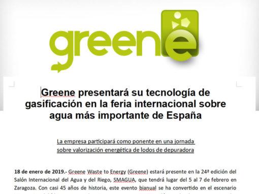Greene presentará su tecnología de gasificación en la feria internacional sobre agua más importante de España