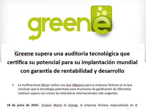 Greene supera una auditoria tecnológica que certifica su potencial para su implantación mundial con garantía de rentabilidad y desarrollo