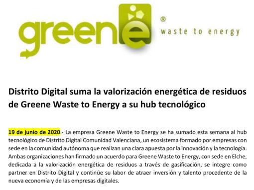 Distrito Digital suma la valorización energética de residuos de Greene Waste to Energy a su hub tecnológico