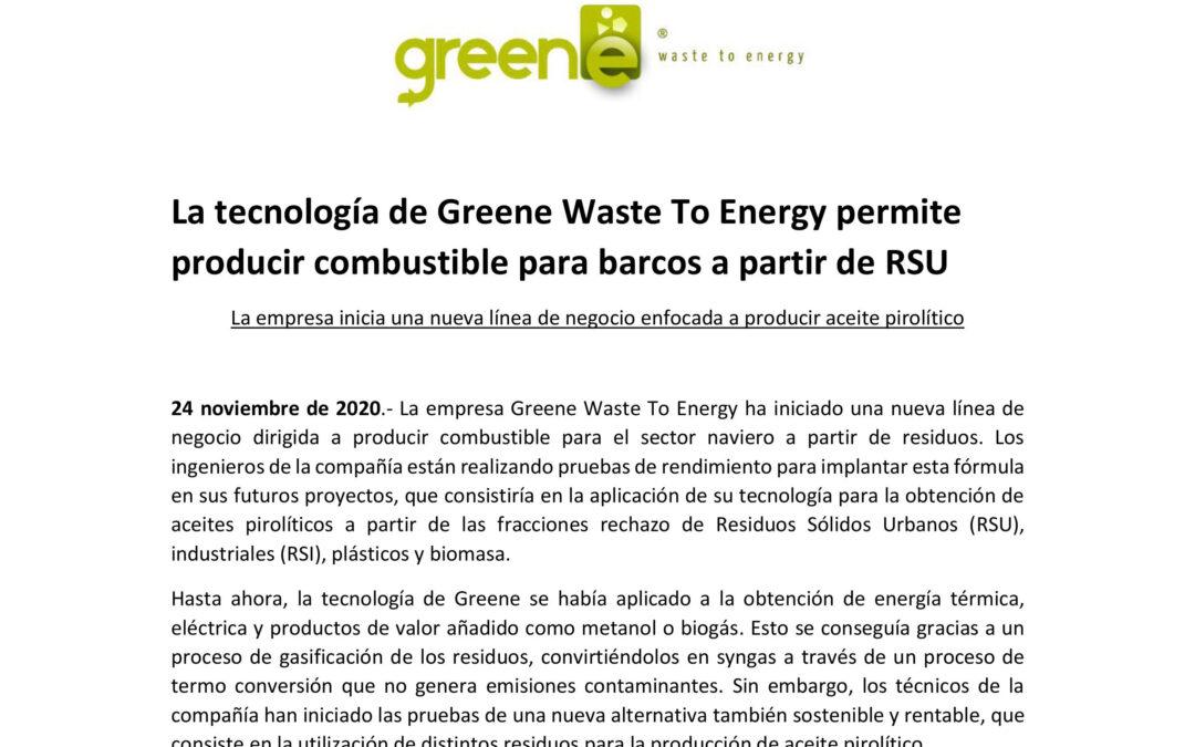 La tecnología de Greene Waste To Energy permite producir combustible para barcos a partir de RSU
