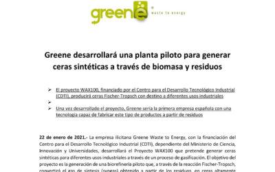 Greene desarrollará una planta piloto para generar ceras sintéticas a través de biomasa y residuos