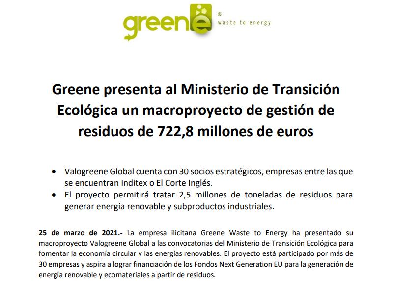 Greene presenta al Ministerio de Transición Ecológica un macroproyecto de gestión de residuos de 722,8 millones de euros